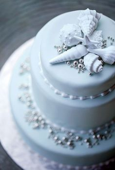 White Cake with Silver ans Seashell Accents for Beach Wedding