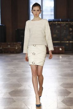 Creme Long Sleeve Lightweight Sweater with a Chic Creme Multi- Buckle Body Forming Above the Knee Skirt - Marina Hoermanseder Berlin Fall 2016 Fashion Show