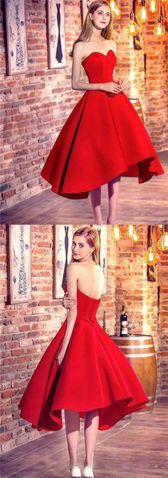 2017 Homecoming Dress Red Ball Gown Asymmetrical Short Prom Dress Party Dress JK189