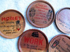 Vintage drinking themed coasters set of 6 / by SandrasCornerStore