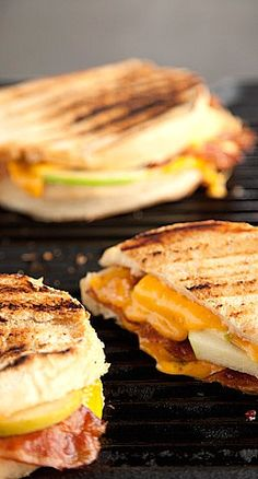 grilled apple, bacon, and cheddar sandwich with roasted red onion and mayo....