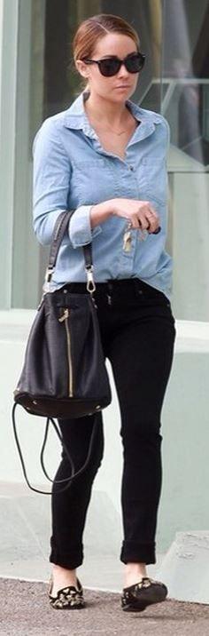 lauren conrad - denim shirt, black jeans, alexander mcqueen loafers & elizabeth and james bag.