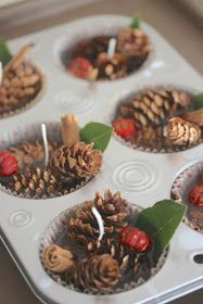 Holiday Wax Fire Starters tutorial. LOVE this idea!! Small pumpkin acorns, fresh bay leaves and cinnamon sticks and pine cones.