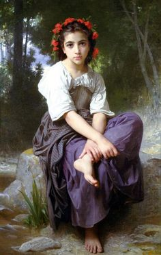 At the Edge of the Brook, 1875 by William-Adolphe Bouguereau. Neoclassicism. portrait