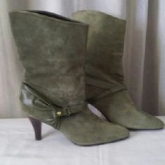 Camo Green Suede & Leather High Heel Boots- new New without the box  Size 6  Color- Camo Green  Material- Suede and leather  Heel- 3 inches Boot height- 11 inches Shoes