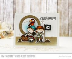 Handmade card from Joni Andaya featuring Party Like a Pirate Stamp Set and Die-namics and Ocean View Porthole Die-namics from My Favorite Things #mftstamps (Favorite Party Products)