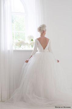 house of mooshki bridal spring 2015 jacqueline bateau neck column wedding dress sleeves tulle over skirt back