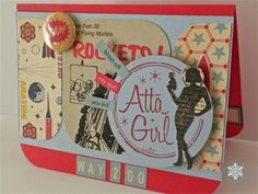 "Mod, retro-style ""Atta Girl"" card"