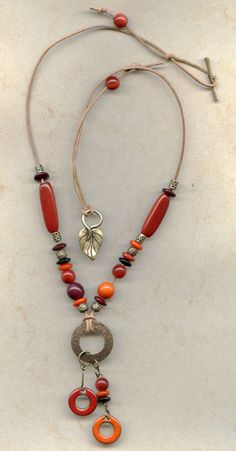20% off Crimson & Marigold Necklace Designer Necklace - Sale Price $24 - One-of-a-Kind Jewelry @ AntelopeBeads.com