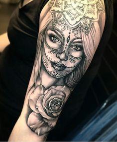 18 Ideas for tattoo ideas female sleeve sugar skull beautiful day of the dead – tattoo sleeve Day Of The Dead Tattoo Sleeve, Sleeve Tattoos For Women, Day Of The Dead Tattoo For Women, Tatto Katrina, Trendy Tattoos, Popular Tattoos, Sister Tattoos, Girl Tattoos, Heart Tattoos