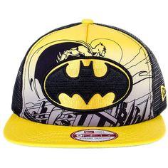 New Era Batman Hero 9FIFTY Snapback Hat (Black/Yellow) (1,010 HNL) ❤ liked on Polyvore featuring accessories, hats, yellow snapback, yellow black snapback, black snap back hat, snap back hats and yellow hat