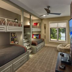 Bunk beds design and room ideas. Most amazing bunk beds for kids. Designing bunk beds that you might like. Bunk Bed Rooms, Bunk Beds Built In, Bunk Beds With Storage, Full Bunk Beds, Bunk Beds With Stairs, Kids Bunk Beds, Built In Beds For Kids, Boys Bunk Bed Room Ideas, Diy Kids Furniture
