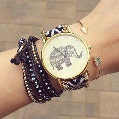 Dames Modieus horloge Kwarts Stof Band Bohémien Zwart Merk- - EUR € 4.89