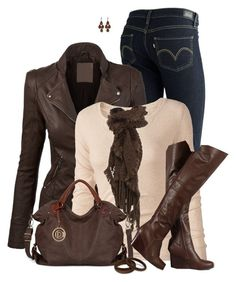 Brown Challenge by daiscat on Polyvore featuring polyvore, fashion, style, Fat Face, Levi's, claire's, Irene Neuwirth, Jane Norman and clothing