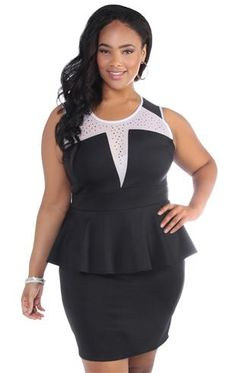 plus size peplum dress with illusion bodice and stud accents I Love Fashion, Curvy Fashion, Plus Size Fashion, Plus Size Peplum, Junior Plus Size, Plus Size Lingerie, Birthday Dresses, Plus Size Dresses, Dress Skirt