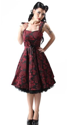 The Rumor Has It is a gorgeous deep red cotton dress with an intricate brocade pattern in black. #BlameBetty #Valentines