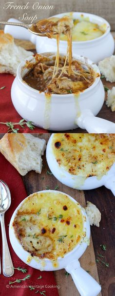 This is the best Homemade French Onion Soup! It has a generous portion of caramelized onions in a rich, flavorful beef broth made from scratch. Three types of cheese are broiled on top of croutons to melty, toasty perfection.
