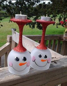 Snow man tealights made from frosted wine glasses