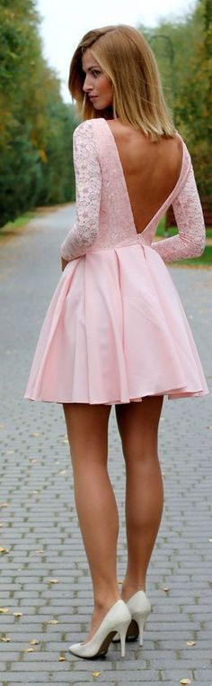 Pink lace Homecoming Dress, Sexy Mini Long Sleeves Party Dress, Deep V back