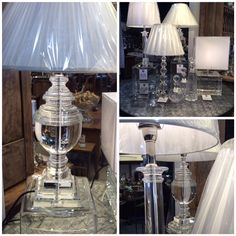 Stunning Crystal Base Lamps with Silk Shades - available at Trilogy Concept Stores - 250 Stirling Hwy Claremont.