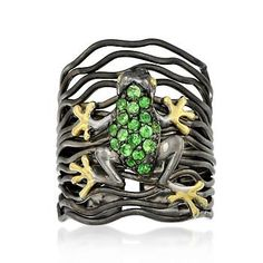 .55 ct tw Tsavorite Frog Ring in Sterling Silver with Black and Yellow Rhodium  made in Thailand   Nice idea as a bracelet.