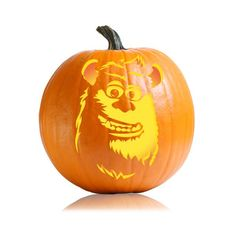 Pin for Later: 26 Pumpkin Carving Ideas For Your Little Cartoon-Lover Sulley Boo! Halloween is a perfect time to celebrate one of Pixar's cutest movies, Monsters, Inc., with a scarer pumpkin. Pumkin Carving, Carving Pumpkins, Disney Pumpkin Carving Patterns, Halloween Pumpkins, Halloween Decorations, Day Of Dead Tattoo, Vintage Halloween, Halloween Stuff, Halloween
