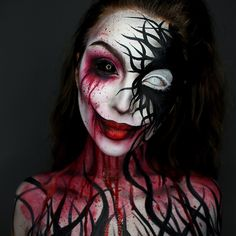 Are you looking for some scary and unique Halloween makeup ideas? Look at our gallery. We have handpicked shocking makeup looks for Halloween Women Demon Makeup, Creepy Makeup, Makeup Art, Makeup Ideas, Sfx Makeup, Makeup Trends, Beauty Makeup, Hair Beauty, Unique Halloween Makeup