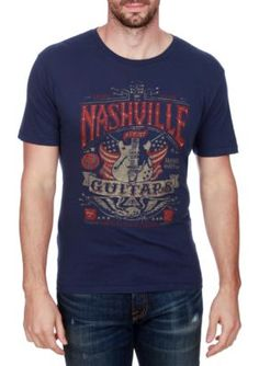 Lucky Brand American Navy Short Sleeve Nashville Guitar Flag Graphic Tee