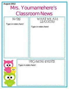 Editable Owl Themed Newsletter.    http://classroomdecorideas524.blogspot.com