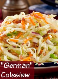 This vinegar-based coleslaw has all the taste of a traditional German potato salad, but in coleslaw form. Try this for a change of pace!