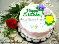 Write Name on Rose Birthday Cake Image