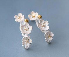 Earrings Branch Flowers Cherry Blossom 925 Sterling Silver