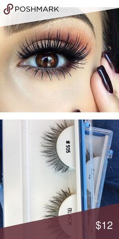 Black fake eye lashes. Three pairs Natural human hair. Three pairs bundled together. Brand for exposure. They're from the Beauty salon that put my eyelash extensions. MAC Cosmetics Makeup False Eyelashes