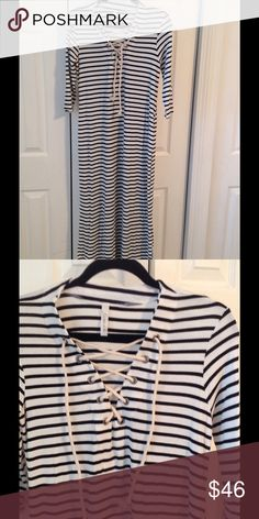BLACK WHITE STRIPE NAUTICAL LOOK DRESS!!! 95% rayon. 5% spandex.  Lace up neckline , slits on side bottoms! Dresses Maxi