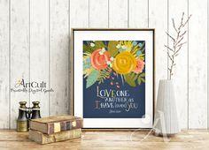 ArtCult Printable digital Wall Art Scripture Bible verse, John 13:34, inspirational wedding quote Instant Download print for home decor