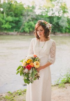bohemian bride // photo by Colagrossi Studio, flowers by Orchid and Willow, view more: http://ruffledblog.com/riverside-bohemian-wedding-shoot/
