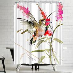 East Urban Home Suren Nersisyan Hummingbird Flyiong 2 Single Shower Curtain Fabric Decor Shower Curtain Curtains