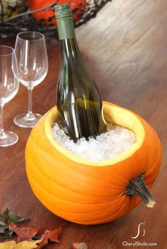 This Halloween, use a gourd to chill your favorite Pinot Grigio. Lay a pumpkin on its side, cut out a large oval with a serrated knife, and use a paring knife to smooth the interior after scooping out its innards.  Get the tutorial at Everyday Dishes.