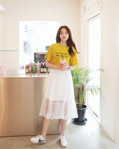 korean fashion casual street mustard yellow shirt long skirt lace translucent white