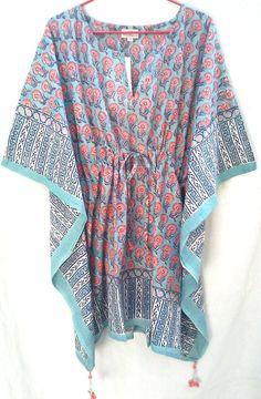 Boho Chic Anokhi Aqua & Coral Pink Floral Hand block print Cotton Kaftan Tunic top One size