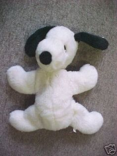 Vintage bean-filled Snoopy.  I remember he had a girlfriend named Belle and you could get outfits for both of them in the toy catalogs back in the day.