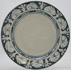 "DEDHAM POTTERY 8.5"" RABBITS PLATE BY MAUDE DAVENPORT CRACKLED GLAZE 1896-1943"