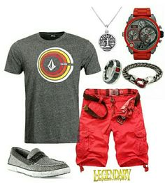 Men's fashion casual summer shorts outfit with Volcom and Diesel