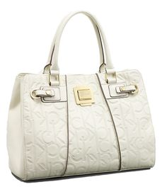 Calvin Klein Womens Haley City Shopper Tote Bag Handbag (White ...