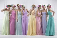 farbenfrohe Brautjungfernkleider