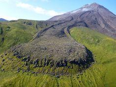 View of a 1906 lava flow on Kanaga Volcano in the Aleutian Islands, Alaska