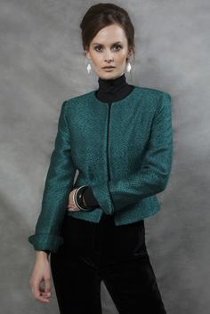 Business Jacket Weave Design in Emerald and Black  - Gina