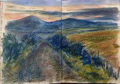 Northumbria, sketch with Derwent XL Graphite sticks in SB Delta sketchbook