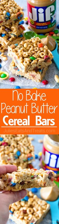 No Bake Peanut Butter Cereal Bars ~ Easy, No Bake Bars with Cheerios, Rice Krispies, M&M's, Peanuts that are Perfectly Ooey & Gooey! ~ https://www.julieseatsandtreats.com