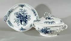 A First Period Worcester Porcelain Pine Cone Pattern Soup Tureen, Cover & Stand, Circa 1775.